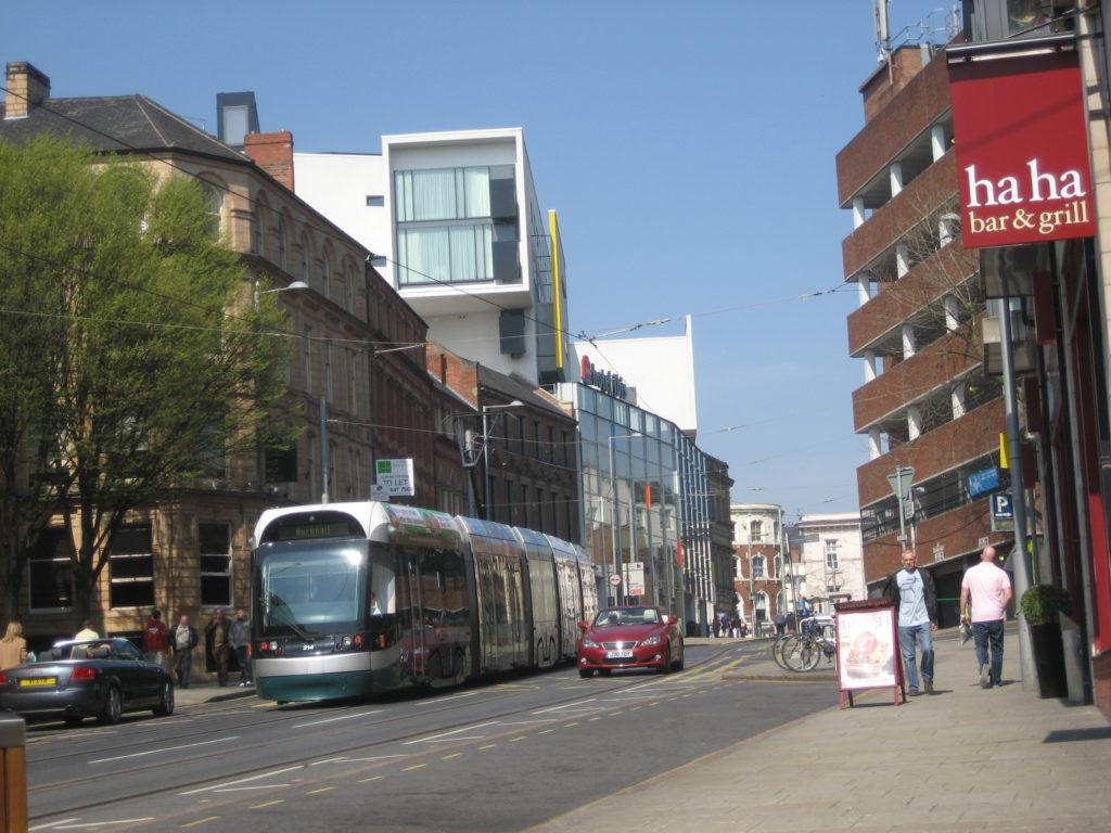 Modern tram in Nottingham