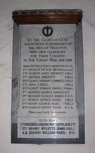 Old Marston war memorial plaque