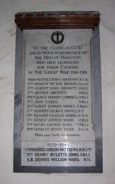 Old Marston war memorial plaque