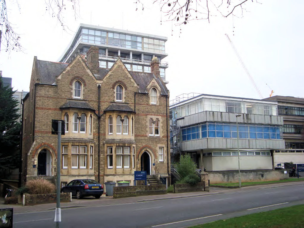 Remaining Victorian villas on Keble Road triangle with twentieth century science buildings